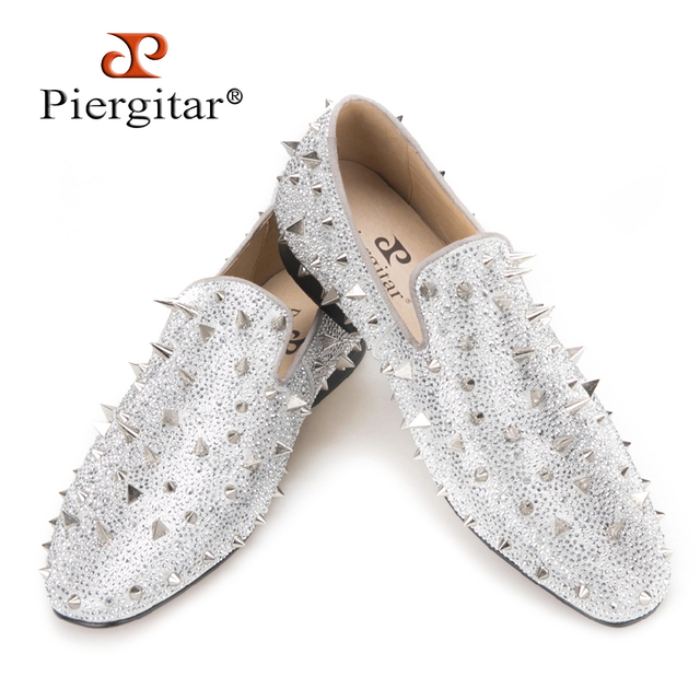 Piergitar Handcrafted Luxury Gold or Silver Spikes and Diamonds Men's Glitter Leather Loafers Suitable for Banquet and Wedding