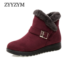 ZYYZYM Women Winter Boots Ankle Snow Middle and Old Age Light Plush Keep Warm Cotton Shoes Woman Zapatos De Mujer