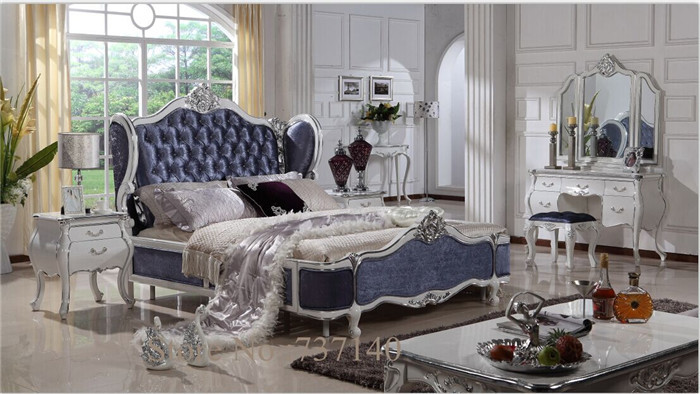 US $1193.0  luxury solid wood bed antique bed styles oak bedroom furniture  wood and fabric bed furniture buying agent wholesale price-in Beds from ...