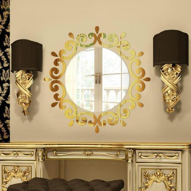 3D Stereo Gold Mirror Wall Stickers Plastic Acrylic Materials Wall ...