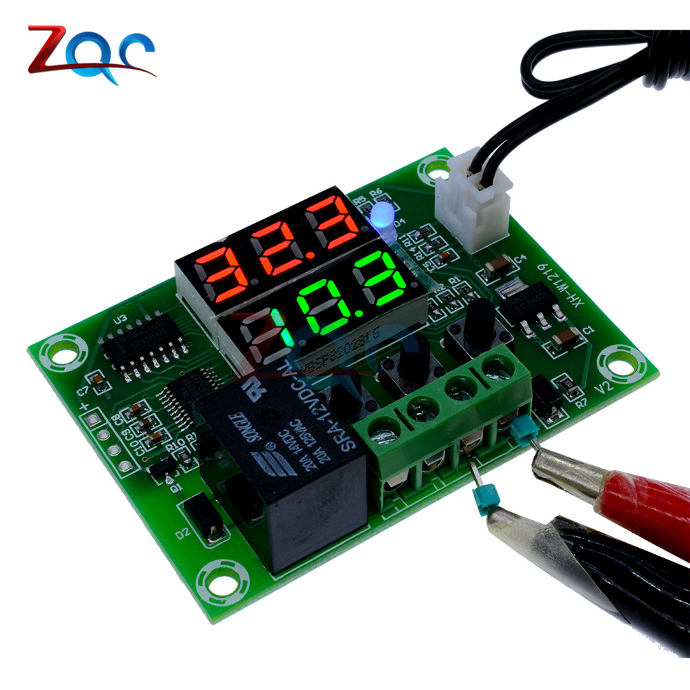 Xh W1219 Dc 12v Dual Led Digital Display Thermostat Temperature Light Wiring Harness With Relay And Weatherproof Switch Controller Regulator Control