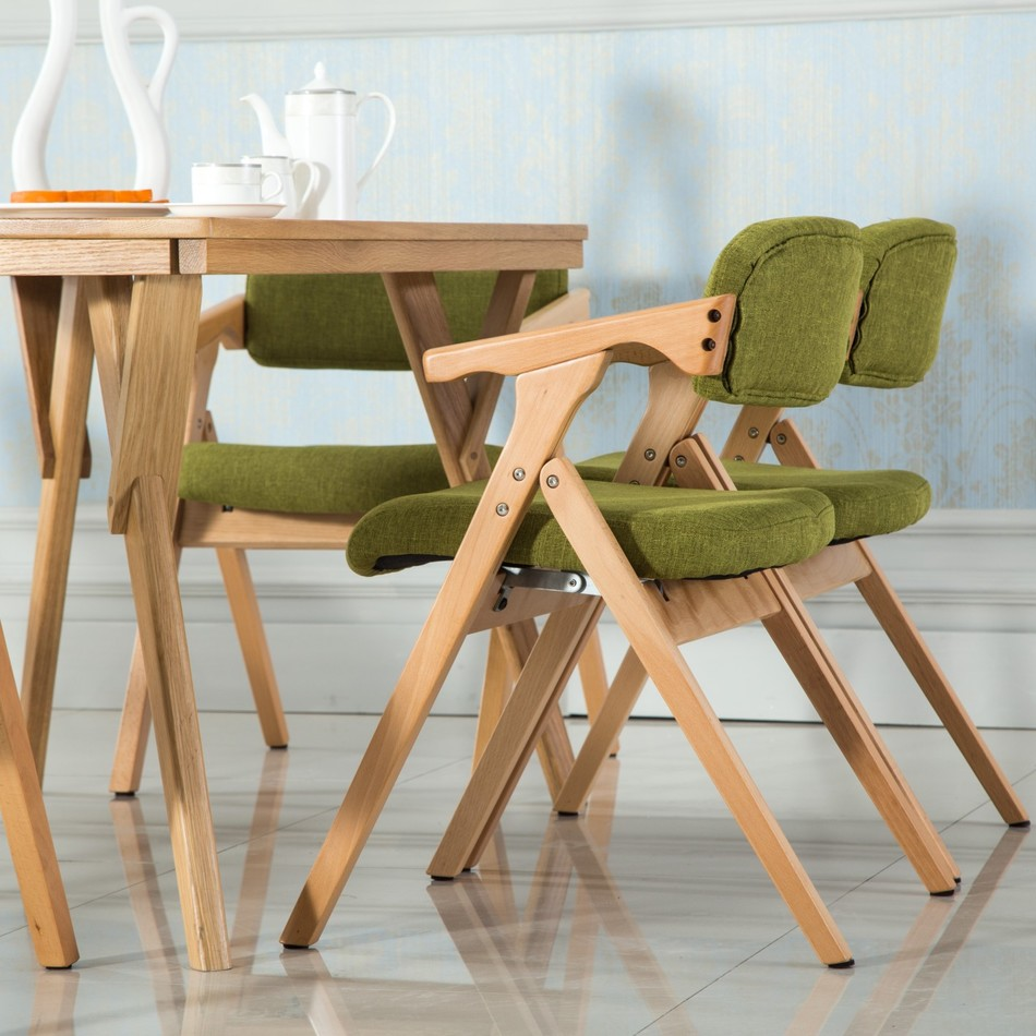 Simple and modern dining chair in South America retail green brown Yellow color restaura ...