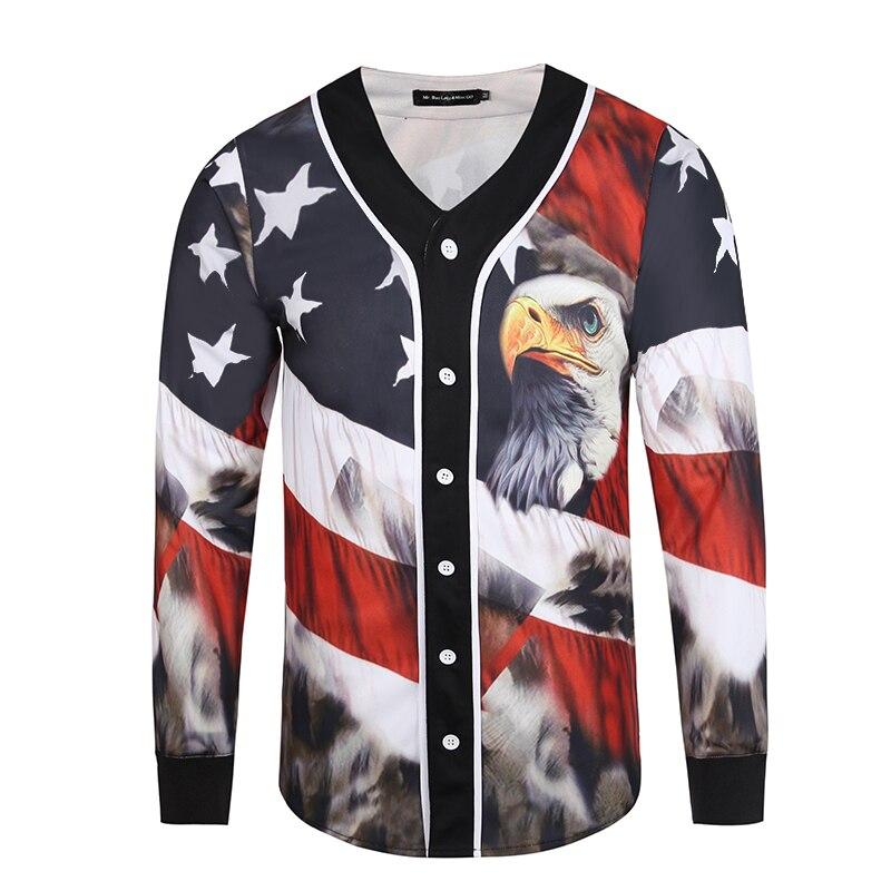 Мода Орел Ретро стиль 3D футболки для мужчин Уличная одежда с длинным рукавом мужчин s Бейсбол Джерси Футболка повседневный приталенный жаке
