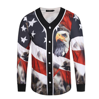 Fashion Eagle Retro Style 3D T Shirts Men Long Sleeve Streetwear Mens Baseball Jersey T shirt Casual Slim Fit Cardigan Tops Tee