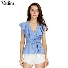 dde79542ef Dulce mujer volantes azul a rayas camisas sexy V-cuello fajas manga corta  blusas de las señoras de moda de estilo europeo tops b.