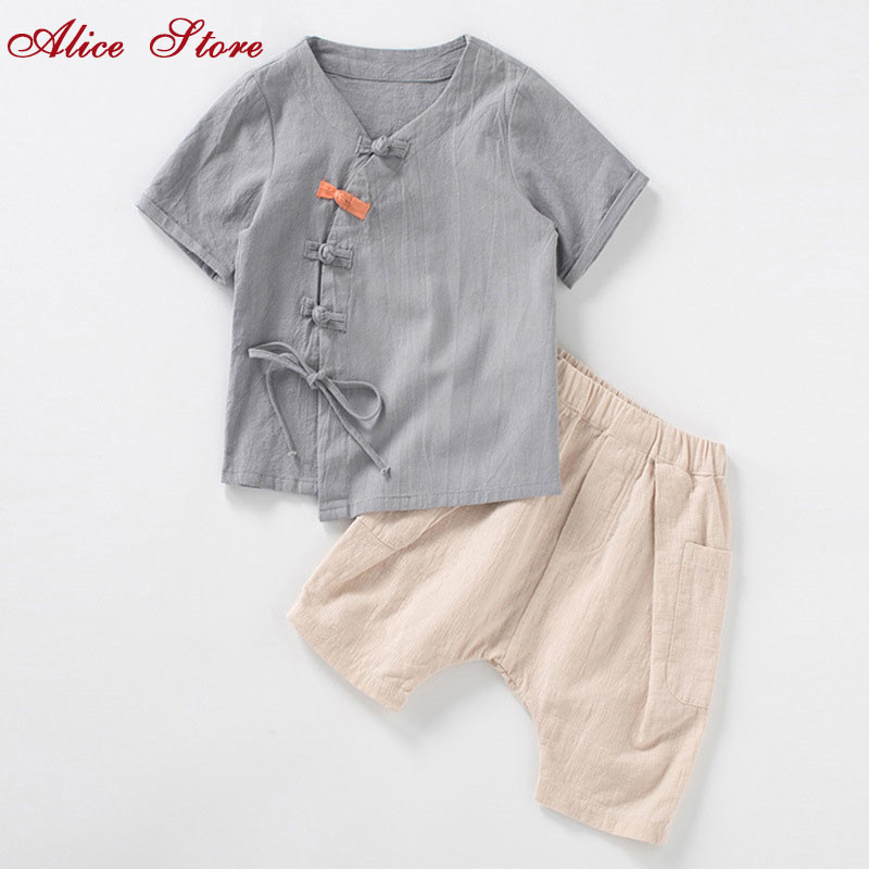 2bd75cae05 Chinese style children s clothing sets boys summer short-sleeved suit baby  Hanfu two-piece