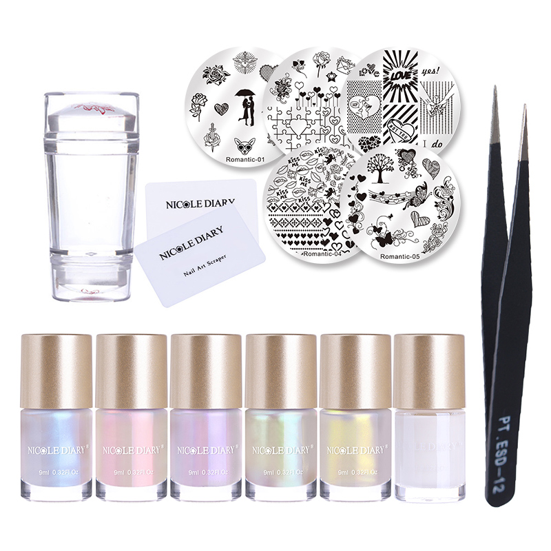 NICOLE DIARY Nail Art Stamping Polish Nail Image Plates Clear Stamper Tweezer Latex Liquid Tape Kit Stamp Nails Tools Set image art
