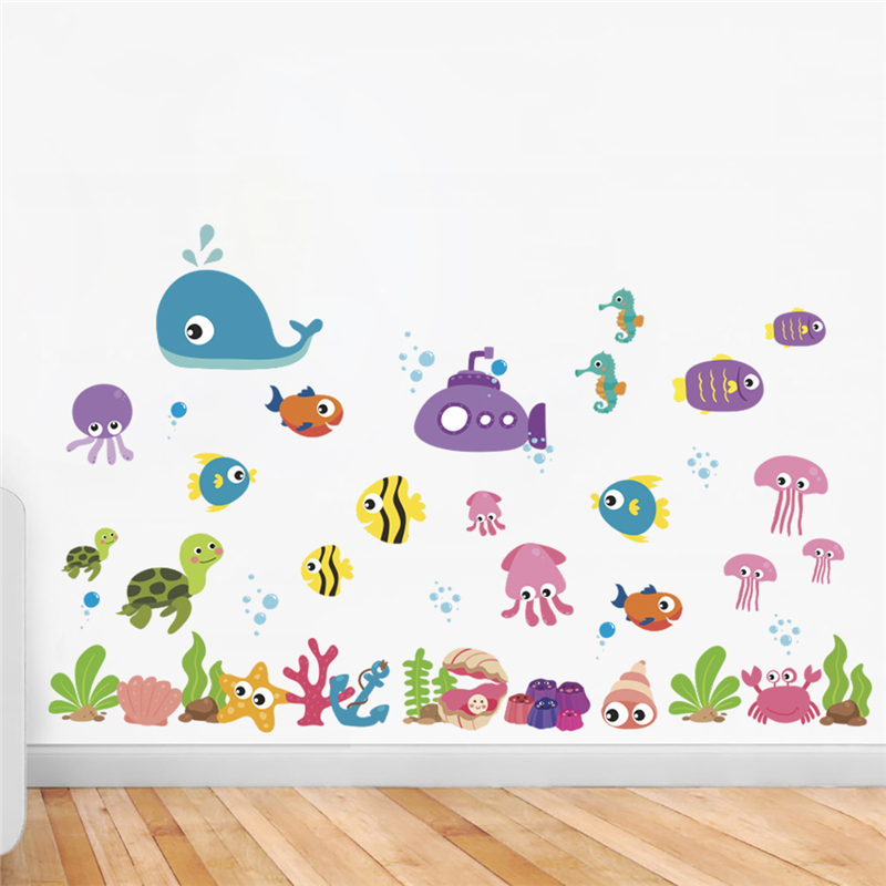 % Cartoon Animals Wall Stickers Bedroom Kids Rooms Home Decor Underwater World Fish Bubble Wall Decals Diy Poster Pvc Mural Art