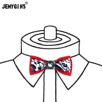JEMYGINS Cotton Chinese Style Blue And White Porcelain Literary Wedding Groom Men Original Red Bow Tie