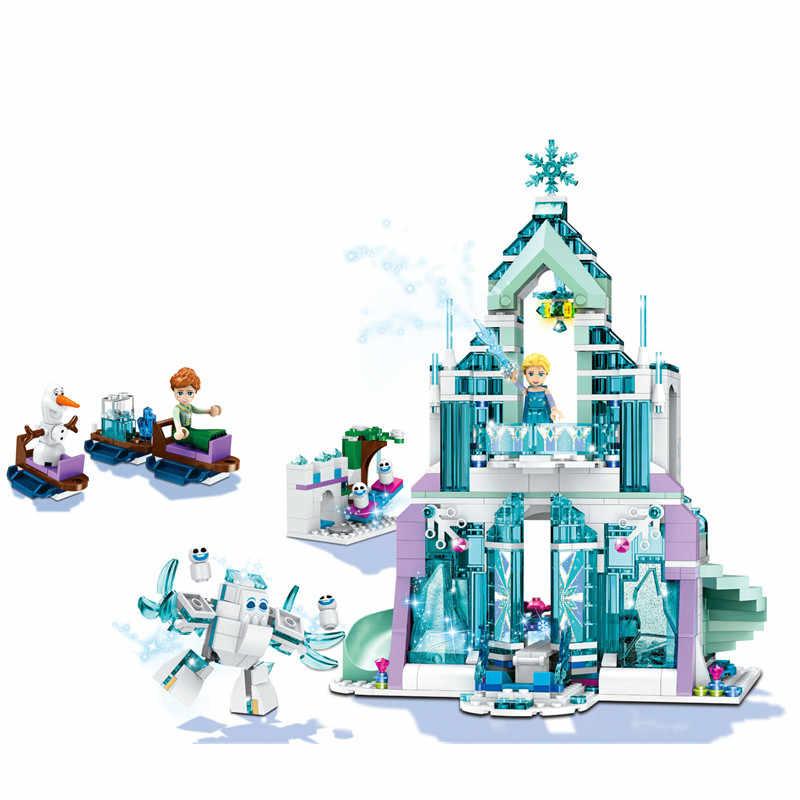 731 шт. девушка серии Эльза Волшебный Лед дворец Замок Совместимость Legoings Строительные блоки Набор игрушек DIY развивающие подарки для детей