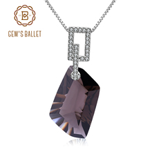 GEMS BALLET 925 Sterling Silver Fine Jewelry Natural Smoky Quartz Gemstone Pendant Necklace for Women Wedding Gift