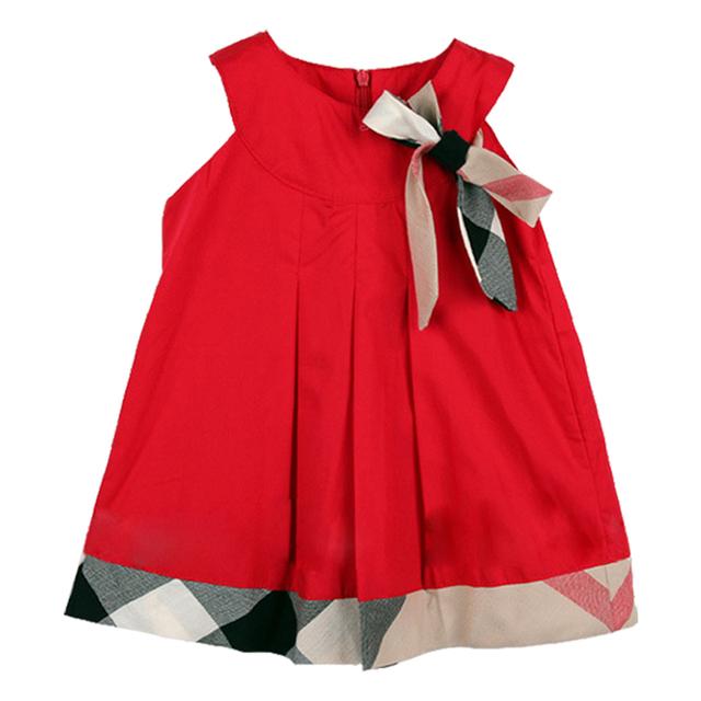 Baby dress fiesta de cumpleaños vestidos de las muchachas marca de algodón a cuadros ropa de bebé recién nacido niño ropa de niña de moda casual vestidos