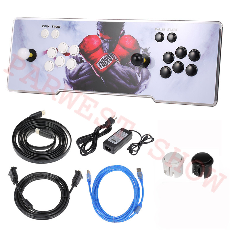 Newest PD 3D Box Arcade Game Console 2600 In 1 Game PCB Board Console With Colorful Acrylic Panel HDMI VGA Output