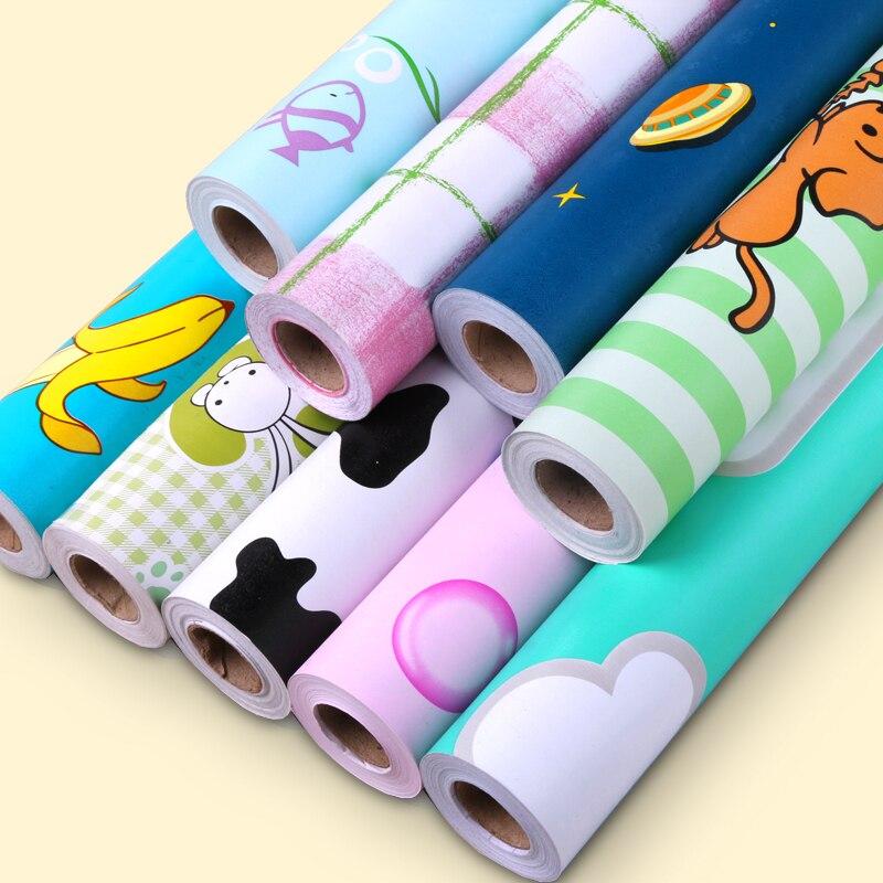 DIY PVC Cartoon Self-adhesive Wallpaper Living Room Bedroom TV Back Children Room Boy Girl Waterproof Wall Stickers Wallpapers