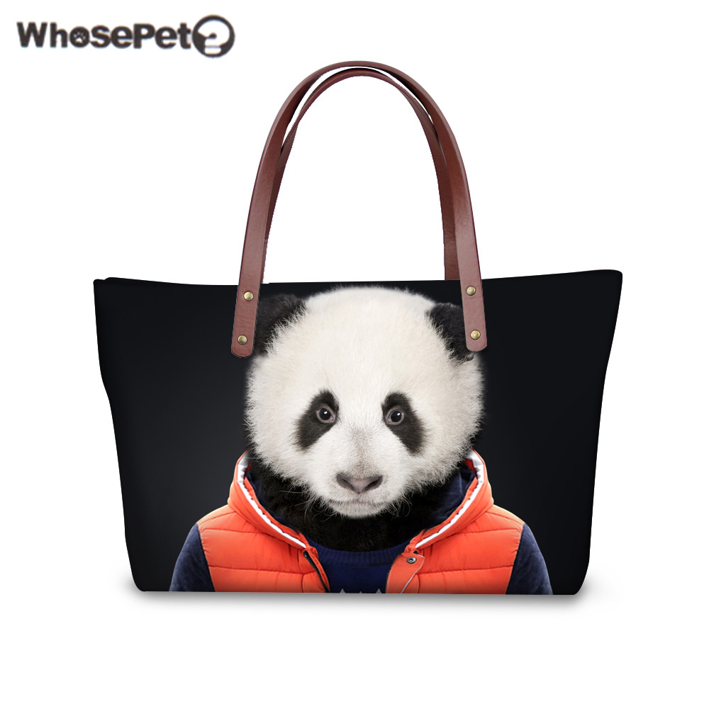 WHOSEPET Tote Handbags Luxury for Women 3D Animals Clothes Printing Handbag Quality Large Capacity Girls Tote