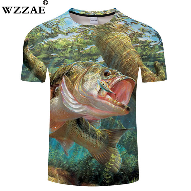 5f3a39dfa 2018 Design Funny Mens T-shirt Fish Style Streetwear Thin Tee Tops 3d  Striped Bass Printed Clothing Men Women Animals Tshirts