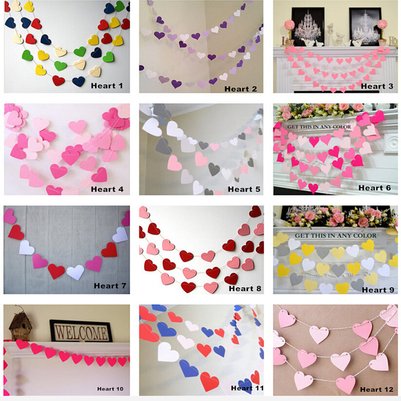 Online shop 10pcs diy cute party decoration pink love heart paper online shop 10pcs diy cute party decoration pink love heart paper garlands chain colorful holiday theme pennant wedding banners home decor aliexpress junglespirit Image collections