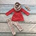 Массовая оптовая ОСЕНЬ/Зима шарф горошек набор детей хлопок костюм новорожденных девочек 3 шт. брюки бутик одежды соответствия лук