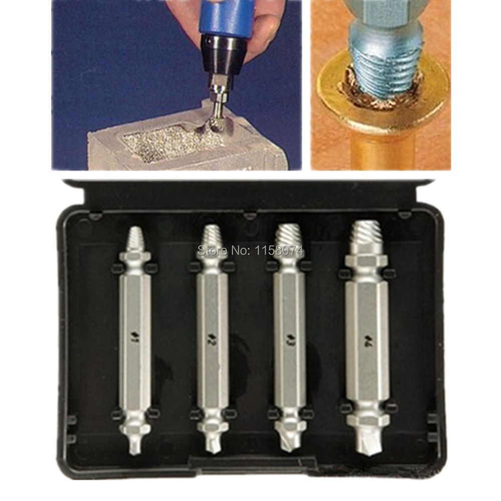 4pc Screw Extractor Drill Guide Set Removal Broken Screw Bolts Fastner Easy Out Wood Bolt Stud Remover Tool Kit 1# 2# 3# 4# New screw extractor