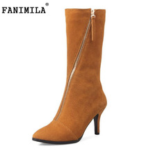 Fanimila Размеры 32–43 Для женщин's Женская зимняя обувь из натуральной кожи до середины голени на высоком каблуке зимние сапоги Для женщин молния острый носок Обувь на теплом меху Botas