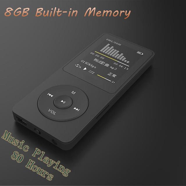 """Venda quente 8 GB lossless Música tempo de jogo 80 Horas MP3 player 1.8 """"tft MP3 com E-book foto Música rádio FM gravador de voz"""