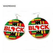 Silver Metal Handmade Painting Round Wood Africa Map Black Girl Magic Drop Earrings Fashion Engagement Gifts Women Club Jewelry