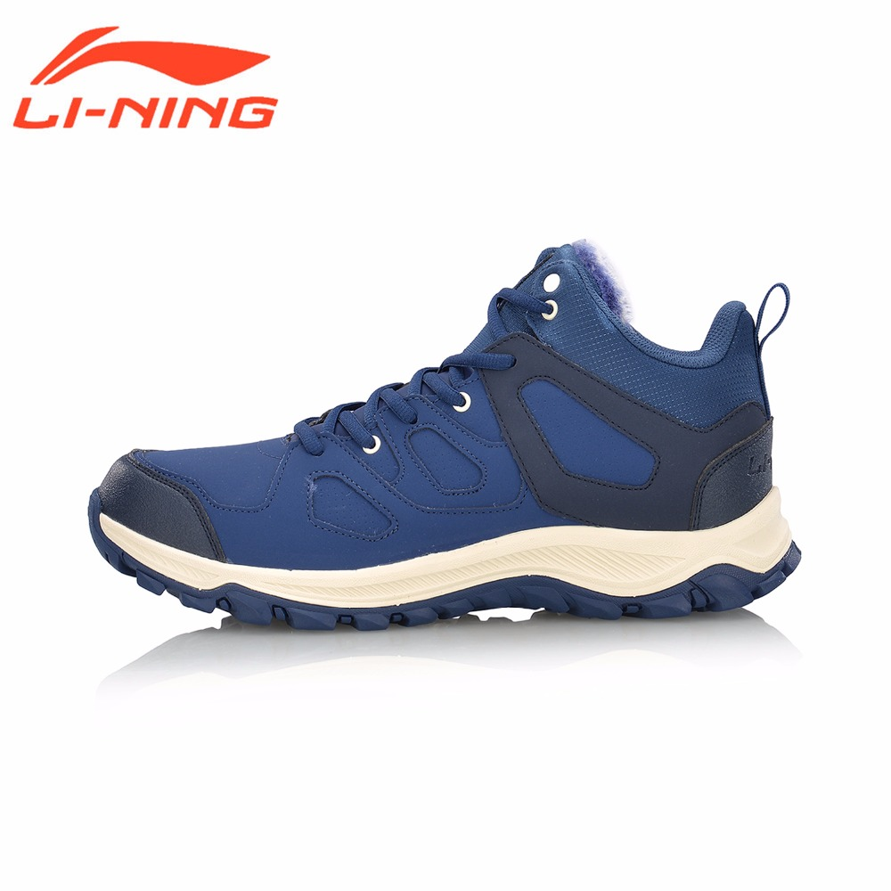 Li-Ning Men Jogging Walking Athletic Shoes Boots WARM SHELL Classic Winter Sneakers Comfort LiNing Sports Shoes AGCM189 original li ning men professional basketball shoes