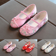 Kids Baby Girls Embroidery Flower Ethnic Style Casual Single Cloth Shoes Sandals