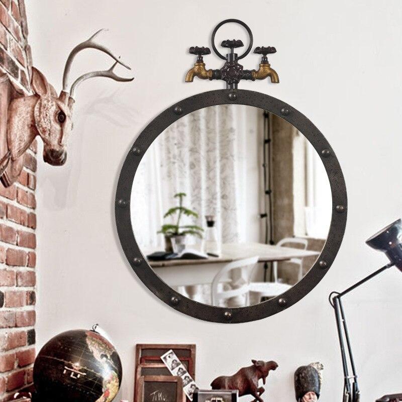 Ретро висит зеркало настенное украшения промышленных ветер бар дважды нажмите лофт американский гладить стены