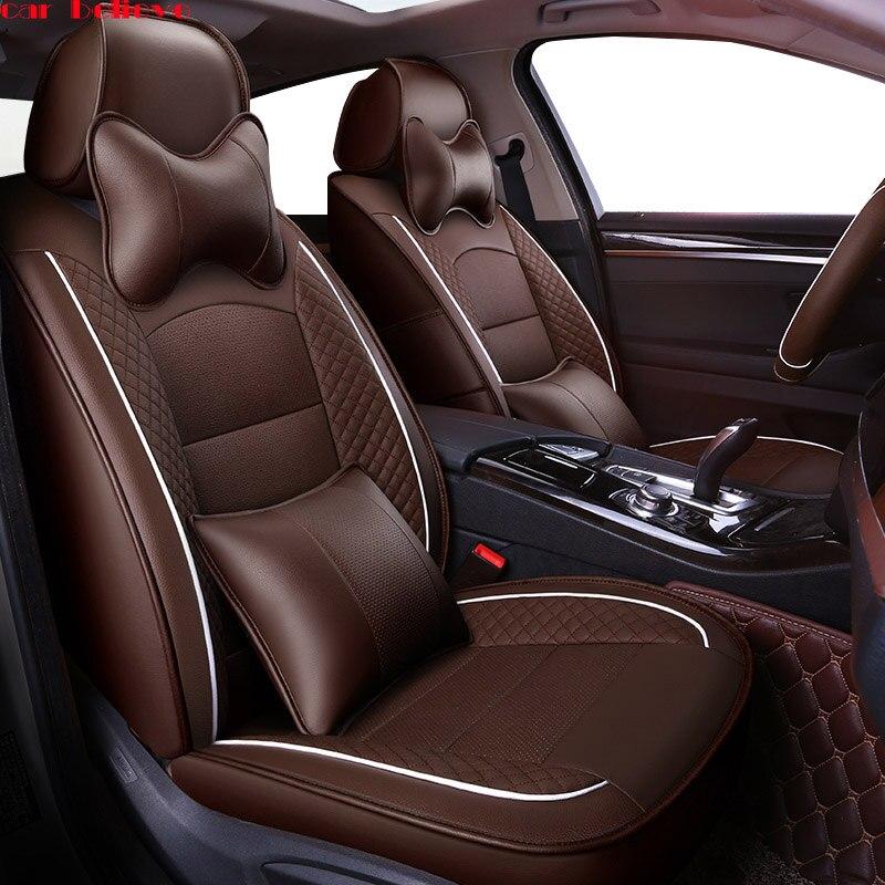 Car Believe Auto automobiles leather car seat cover For Ford Focus 2 3 Fushion mondeo Fiesta Edge Explore Kuga car accessories