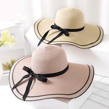 HT1686 2018 New Women Summer Hat Ladies Big Wide Brim Sun Solid Packable Straw Floppy Casual Vacation Beach Cap