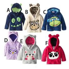 2016 Winter Kids Cartoon Coats Children Jackets Baby Boys Animal Long Sleeve Outerwear Coral Velour Baby boy clothes