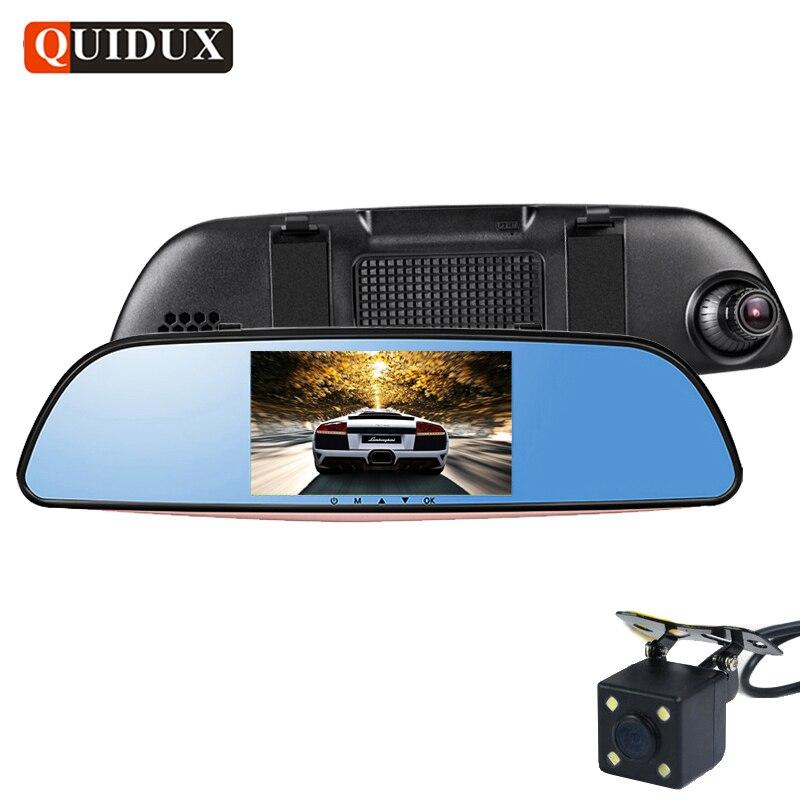 QUIDUX двойной автомобиль DVR камеры с разрешением FHD 1080p зеркало заднего вида парковка монитор G-Датчик обнаружения движения автомобиля видеокамера