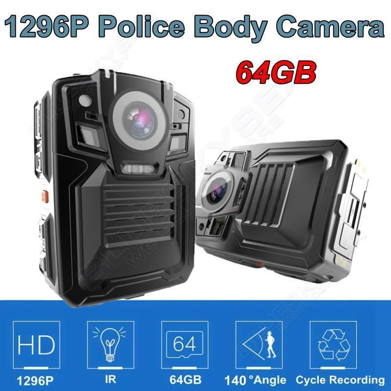 Free shipping 64GB Ambarella A7L50 Super HD 1296P Police Body Worn Camera IR Light 8Hours 140