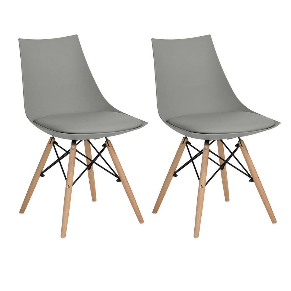EGGREE 2pcs Retro Beech Wooden Legs Dining Chair/Office Chair/Bar Chair/Kitchen Furniture Chair the silver chair