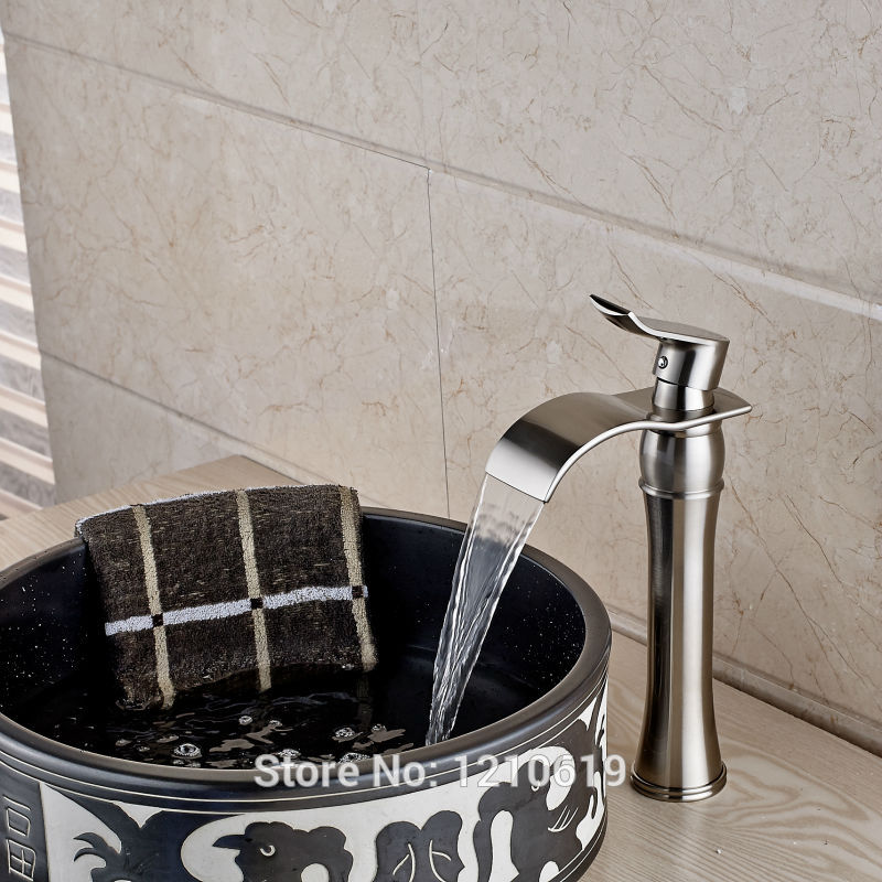 цены Newly Nickel Brushed Bathroom Sink Faucet Cold&Hot Water Tap Deck-mount Tall Basin Mixer Faucet One Hole