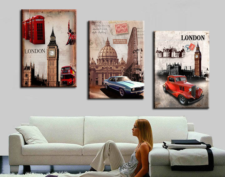 european landscape paintings Decorative Pictures 3 Piece Wall Art Pictures London Oil Painting On Canvas For Wall Modern Home