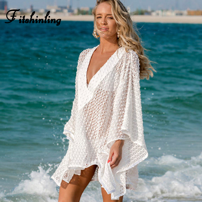 Fitshinling Deep v neck boho lace beach dress swimwear batwing sleeve oversized loose white summer dresses women sheer pareos
