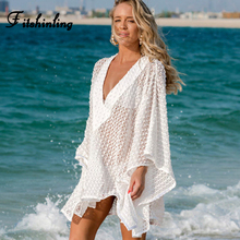 Fitshinling Deep v neck boho lace beach dress swimwear batwing sleeve oversized loose white summer dresses women sheer pareos mostnica beach sexy white sheer guipure lace tops without bra plain blouse women summer batwing sleeves round neck blouses