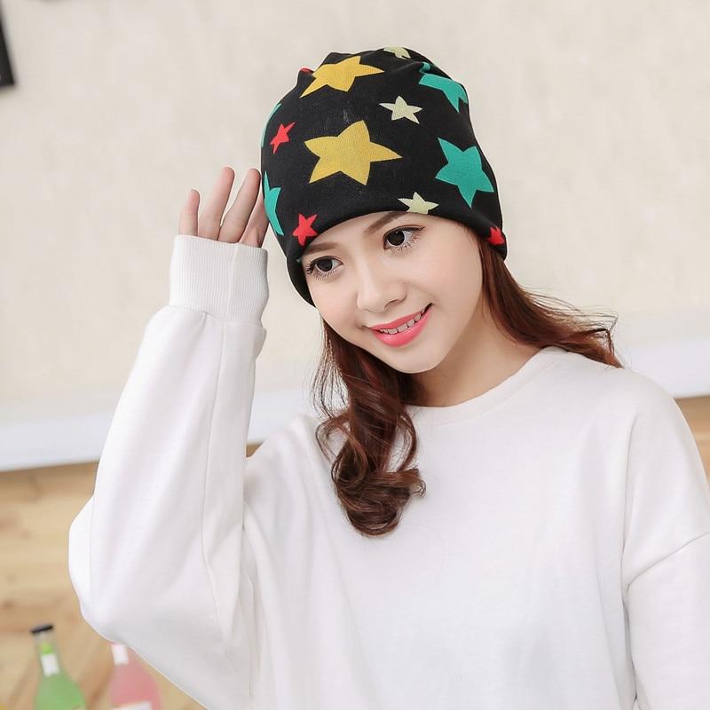 Five Star Print Fashion Girls Hats Autumn Winter Casual Cotton Caps Women   Skullies     Beanies   Warm Ladies Caps Free size