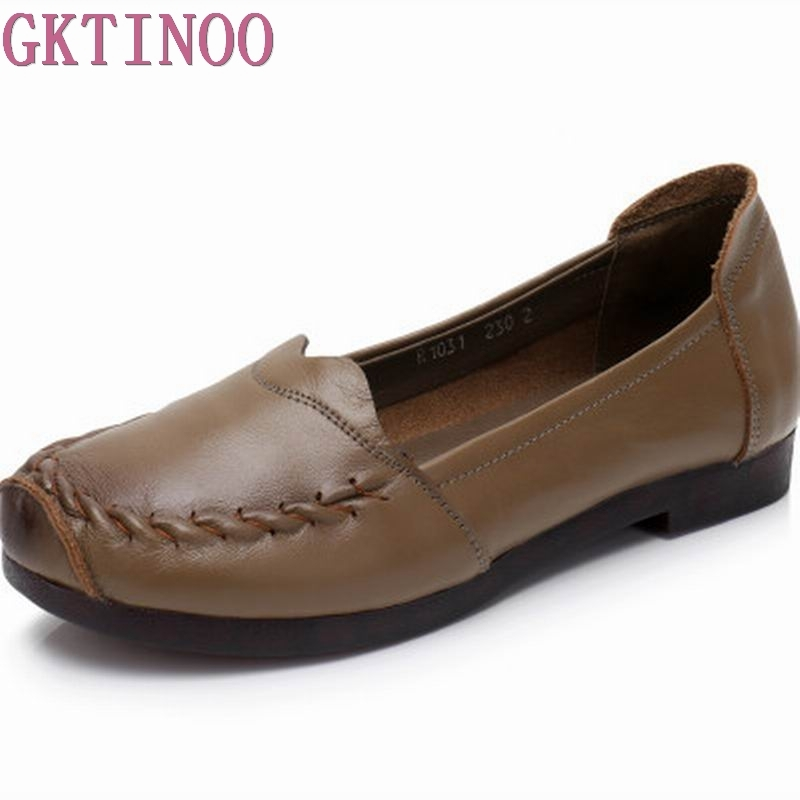 GKTINOO Fashion Women Shoes Genuine Leather Loafers Women Casual Flat Shoes Spring Autumn Soft Comfortable Shoes Women Flats muyang new 2017 women shoes genuine leather flats round toe bowtie soft comfortable flat shoes spring autumn casual female shoes