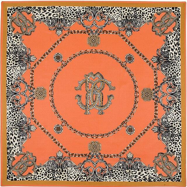2017 Newest Top Design Women Spring Scarf Luxury Brand Silk Scarves Shawls Leopard Chain Pendant Print Bandana Head Scarf