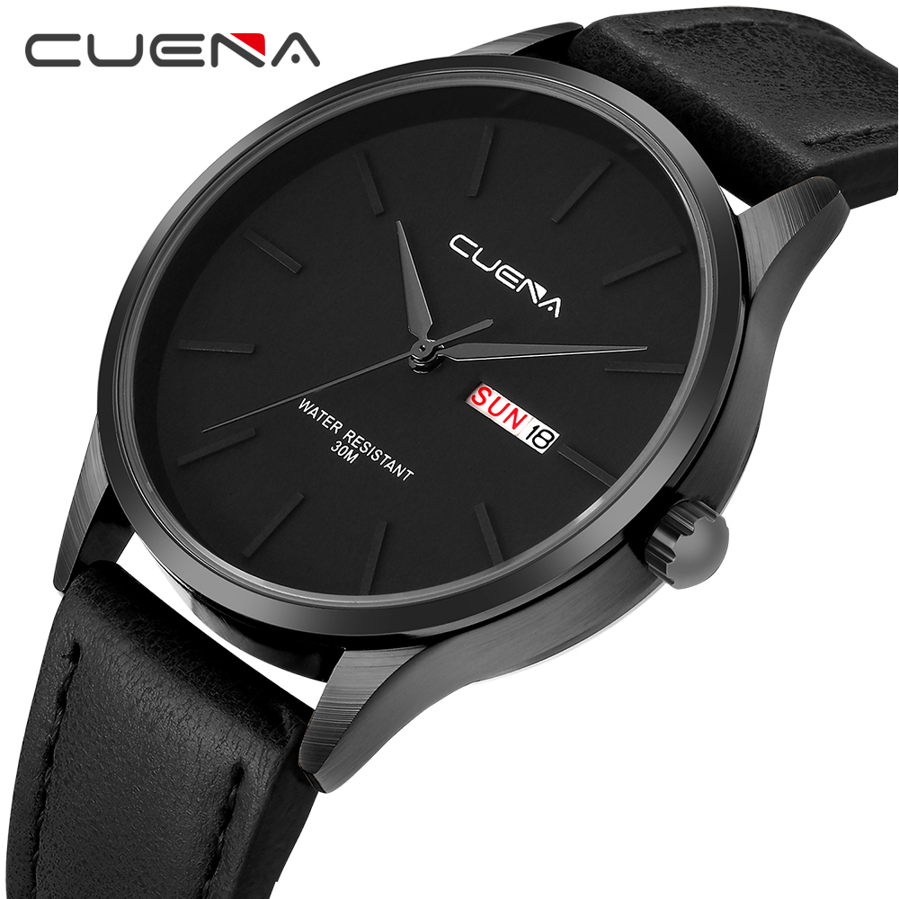 CUENA Quartz Watches Men Date Week Black Genuine Leather Strap 30m Waterproof Fashion Luxury Men's Wrist Watch Relogio Masculino