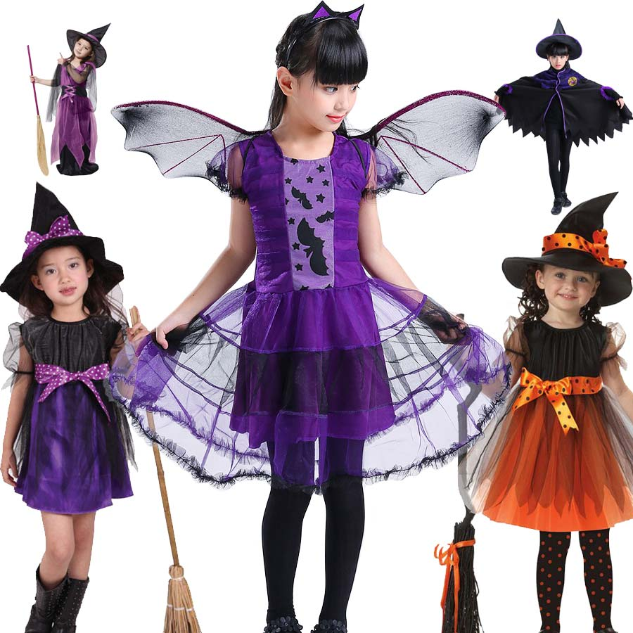 Halloween Witch Dress Child Girls Halloween Fancy Party Costume for Girls Kids Outfit Clothes Kids Witch Costumes Princess