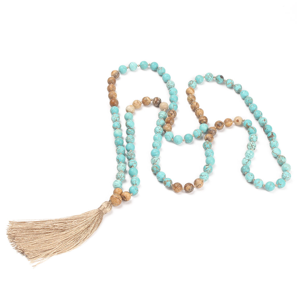 Natural Stone Mala Necklace with Tassel 1