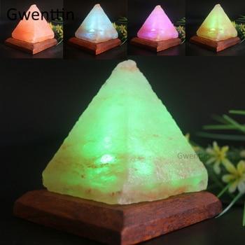 Himalayan Natural Crystal USB Salt Lamp Triangle Hand Carved Purifier Led Night Light Wooden Base Bedroom Lava Lamp Luminaria