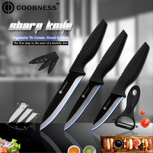 COOBNESS Brand 3 4 5 Ceramic Kitchen Knife Black Zirconia Cooking Ceramic Knife And Peeler + Ceramic Knife Holder 5 Piece Set xs410 d9 4 chic ceramic knife black white