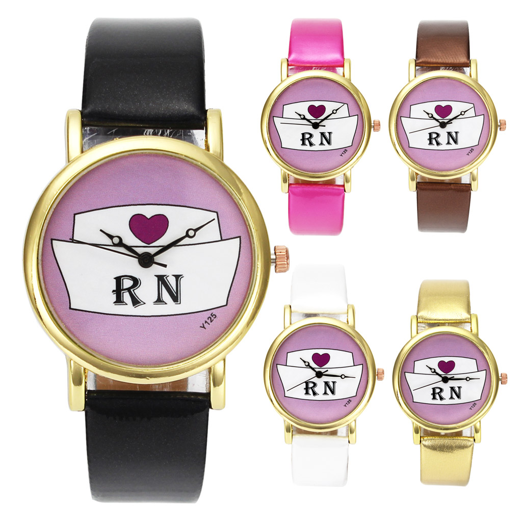 Doctor Nurse Heart Hat Medical RN Nurses Day Gold Case Quartz Wrist Watch Gift Watches pretend and play doctor set little doctor kids baby toddler children junior doctor nurses medical set kit role play toy