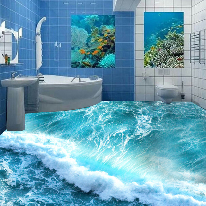 Custom Floor Mural Ocean Seawater Bathroom Floor Vinyl Wallpaper Self-adhesive Waterproof Wall Home Decor Wallpaper For Walls 3D custom floor wallpaper beach shells and starfish bathroom floor mural paintings self adhesive waterproof wall papers home decor