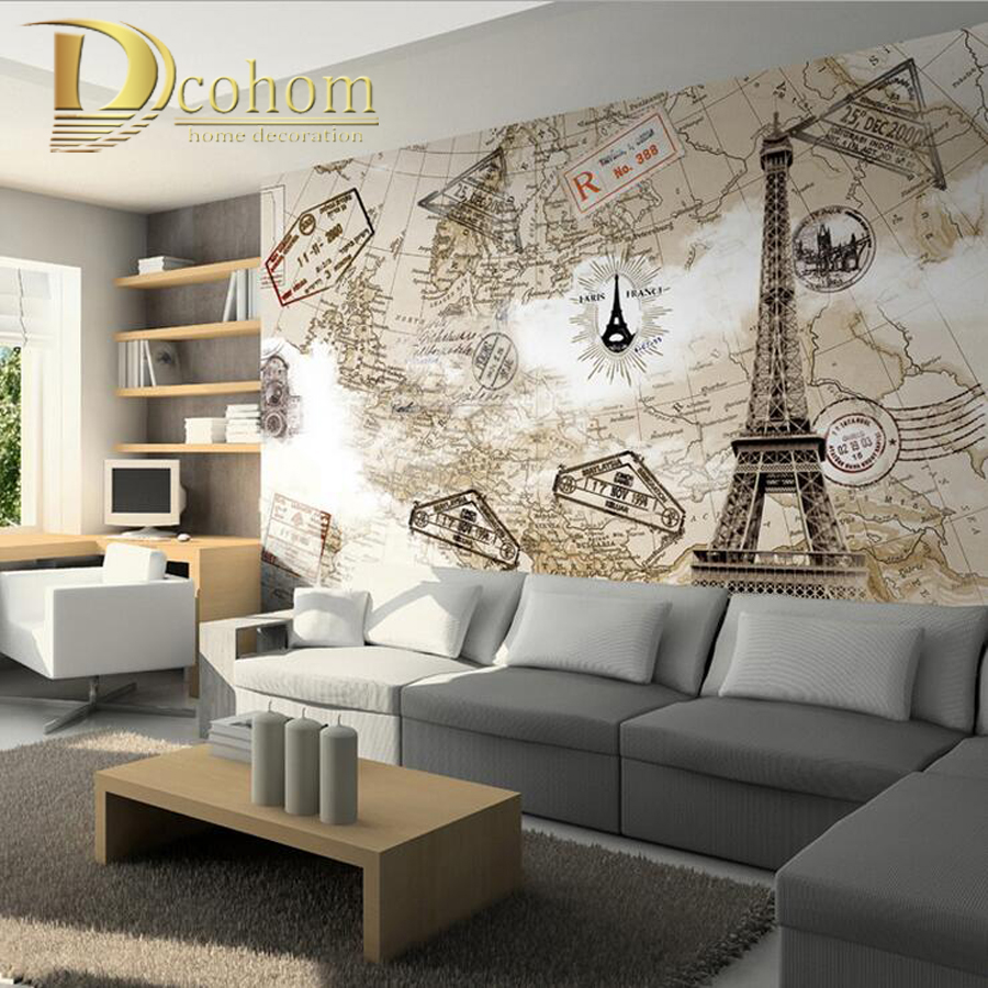 Customize Any Size Vintage Map Eiffel Tower Bedroom TV Background Wall  Paper Home Decor Living Room